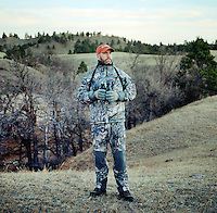 John Taranto, a writer with Outdoor Life Magazine hunts at Trope Ranch near Hullett, Wyoming, Wednesday, November 7, 2012.<br /> <br /> <br /> Photo by Matt Nager