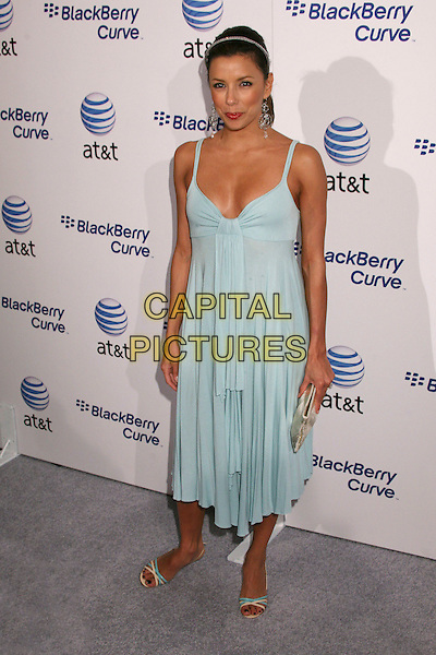 EVA LONGORIA.AT&T's BlackBerry Curve Launch Party at the Beverly Wilshire Hotel, Beverly Hills, California, USA,.31 May 2007..full length red liptick hairband hair band dangly earrings pale green blue dress.CAP/ADM/BP.©Byron Purvis/AdMedia/Capital Pictures.