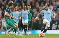 Manchester City's Kyle Walker under pressure from Tottenham Hotspur's Fernando Llorente<br /> <br /> Photographer Rich Linley/CameraSport<br /> <br /> UEFA Champions League - Quarter-finals 2nd Leg - Manchester City v Tottenham Hotspur - Wednesday April 17th 2019 - The Etihad - Manchester<br />  <br /> World Copyright © 2018 CameraSport. All rights reserved. 43 Linden Ave. Countesthorpe. Leicester. England. LE8 5PG - Tel: +44 (0) 116 277 4147 - admin@camerasport.com - www.camerasport.com