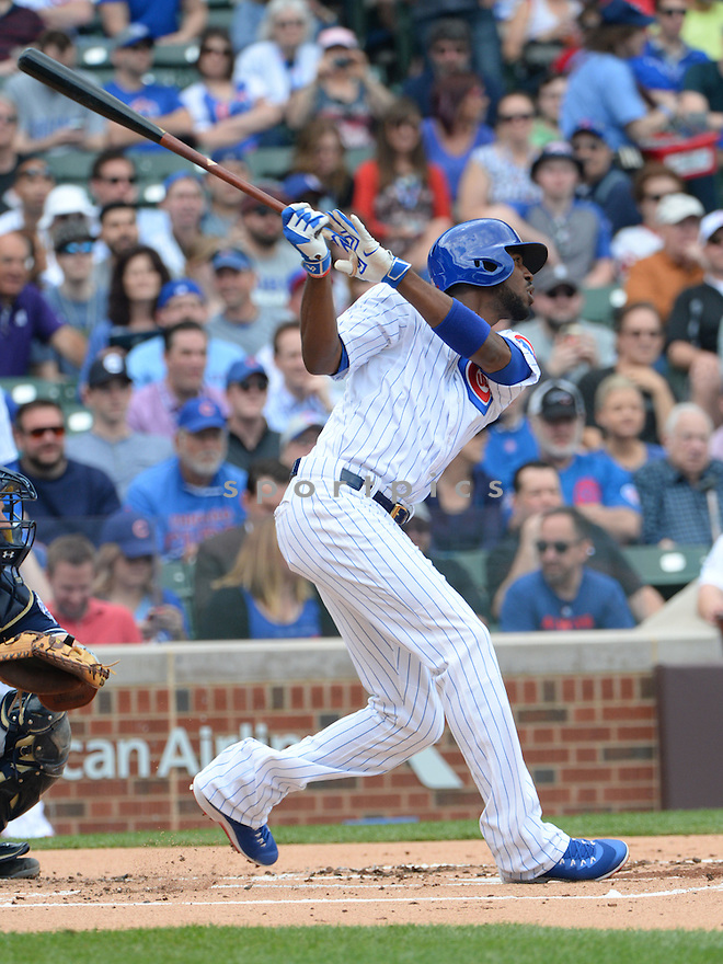 Chicago Cubs Dexter Fowler (24) during a game against the San Diego Padres on April 17, 2015 at Wrigley Field in Chicago, IL. The Padres beat the Cubs 5-4.