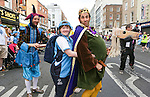 Alva Kilbert from the East pictured with Jester AKA Jonathan Gunning,  &amp; King ALA Miquel Barcelo  at the Start of the Parade to officially start the Special Olympics in Limerick over the Next 3 Days.<br /> Picture  Credit Brian Gavin Press 22