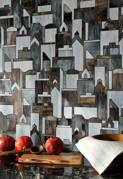 Cityscape, a glass waterjet mosaic shown in Pearl, Lavastone, and Tourmaline, is part of the Erin Adams Collection for New Ravenna.