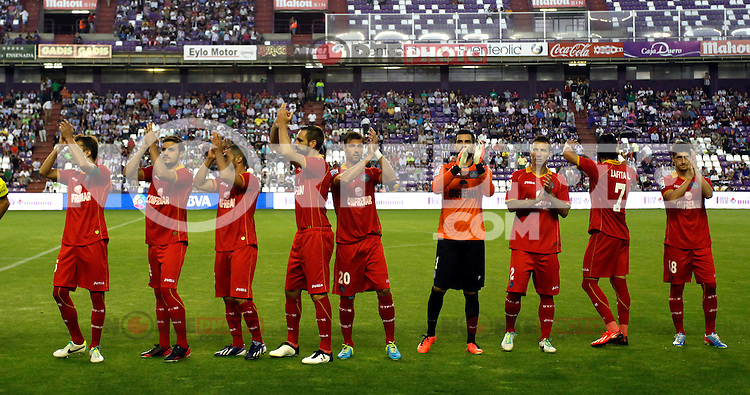 Getafe's players during La Liga match.August 31,2013. (ALTERPHOTOS/Victor Blanco)