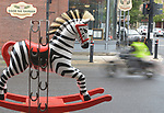 """A view of """"Deebra at the Zoo"""" created by artist, Debra Ricks, one of the """"Rockin' Around Saugerties"""" theme Statues on display throughout the Village of Saugerties, NY, on Sunday, June 4, 2017. Photo by Jim Peppler. Copyright/Jim Peppler-2017."""