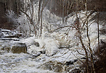 KENT, CT-011418JS04---A heavy flow of water, along with spraying water and below freezing temperatures, make for some a picturesque scene along the Housatonic River in Kent at Bulls Bridge on Sunday. <br />  Jim Shannon Republican-American