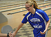 Katherine Oswald of Levittown Division gets congratulated after rolling a strike in a Nassau County girls bowling match against MacArthur at Levittown Lanes on Wednesday, Jan. 3, 2018. She bowled a 449 series with a high game of 152.