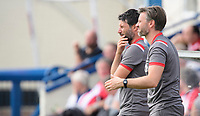 Lincoln City manager Danny Cowley, left, and Lincoln City's assistant manager Nicky Cowley<br /> <br /> Photographer Chris Vaughan/CameraSport<br /> <br /> Football Pre-Season Friendly (Community Festival of Lincolnshire) - Lincoln City v Lincoln United - Saturday 6th July 2019 - The Martin & Co Arena - Gainsborough<br /> <br /> World Copyright © 2018 CameraSport. All rights reserved. 43 Linden Ave. Countesthorpe. Leicester. England. LE8 5PG - Tel: +44 (0) 116 277 4147 - admin@camerasport.com - www.camerasport.com
