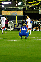 AFC Wimbledon's Lyle Taylor reflects on his bad luck during the Sky Bet League 1 match between AFC Wimbledon and MK Dons at the Cherry Red Records Stadium, Kingston, England on 22 September 2017. Photo by Carlton Myrie / PRiME Media Images.