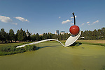 Minnesota, Twin Cities, Minneapolis-Saint Paul: Sculpture Spoonbridge and Cherry by Claes Oldenburg at the Minnesota Sculpture Garden next to the Walker Art Center..Photo mnqual201-74974..Photo copyright Lee Foster, www.fostertravel.com, 510-549-2202, lee@fostertravel.com.