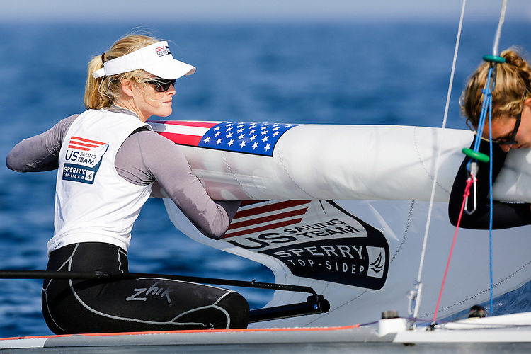 SANTANDER, SPAIN - SEPTEMBER 14:  470 Women - USA88 - Sydney Bolger / Carly SHEVITZ in action during Day 3 of the 2014 ISAF Sailing World Championships on September 14, 2014 in Santander, Spain.  (Photo by MickAnderson/SAILINGPIX via Getty Images)