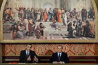 Lesmo (MI): Silvio Berlusconi e il suo avvocato Niccolò Ghedini durante la conferenza stampa a Villa Gernetto a Lesmo ..Lesmo (Milan): Silvio Berlusconi and his lawyer Niccolò Ghedini during a press conference at Villa Gernetto in Lesmo near Milan.