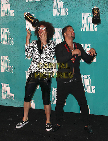 Red Foo, Sky Blu, LMFAO.2012 MTV Movie Awards held at the Gibson Amphitheatre, Universal City, California, USA..3rd June 2012.full length white black leopard print jacket trousers shorts leather award trophy trophies winner winners glasses  throwing gesture .CAP/ADM/SLP/LS.©Lee Sherman/Starlitepics/AdMedia/CapitalPictures.