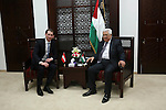Palestinian President Mahmoud Abbas meets with Austrian Foreign Minister Sebastian Kurz, in the West Bank city of Ramallah, on May 15, 2016. Photo by Shadi Hatem