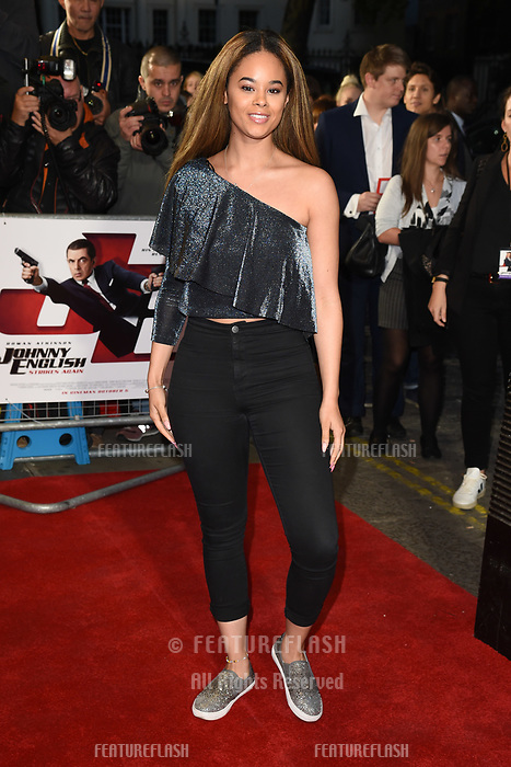 LONDON, UK. October 03, 2018: Kiera-Nicole Brennan at the premiere of &quot;Johnny English Strikes Again&quot; at the Curzon Mayfair, London.<br /> Picture: Steve Vas/Featureflash