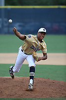 Hunter Greene (5) of the Notre Dame High School Knights pitches against the Alemany High School Warriors at Notre Dame H.S. on April 7, 2017 in Sherman Oaks, California. Greene is expected to be a high first round pick in the 2017 Major League Baseball player draft on June 12. Notre Dame defeated Alemany, 2-1. (Larry Goren/Four Seam Images)