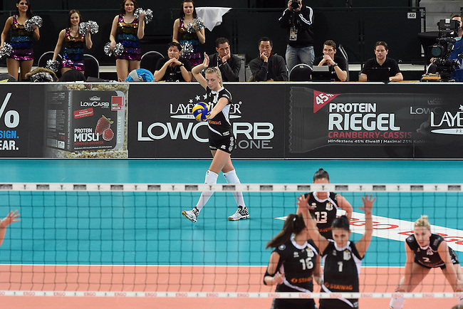 Halle/Westfalen, Germany, March 01: Simona Kosova #11 of Ladies in Black Aachen serves the ball during the Volleyball DVV-Pokalfinale (Damen) between Ladies in Black Aachen and Allianz MTV Stuttgart on March 1, 2015 at the Gerry Weber Stadion in Halle/Westfalen, Germany. Final score 2-3 (25-17, 25-20, 19-25, 19-25, 13-15). (Photo by Dirk Markgraf / www.265-images.com) *** Local caption ***i