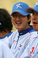 Jae Woo Lee of Korea during a game against Venezuela at the World Baseball Classic at Dodger Stadium on March 21, 2009 in Los Angeles, California. (Larry Goren/Four Seam Images)