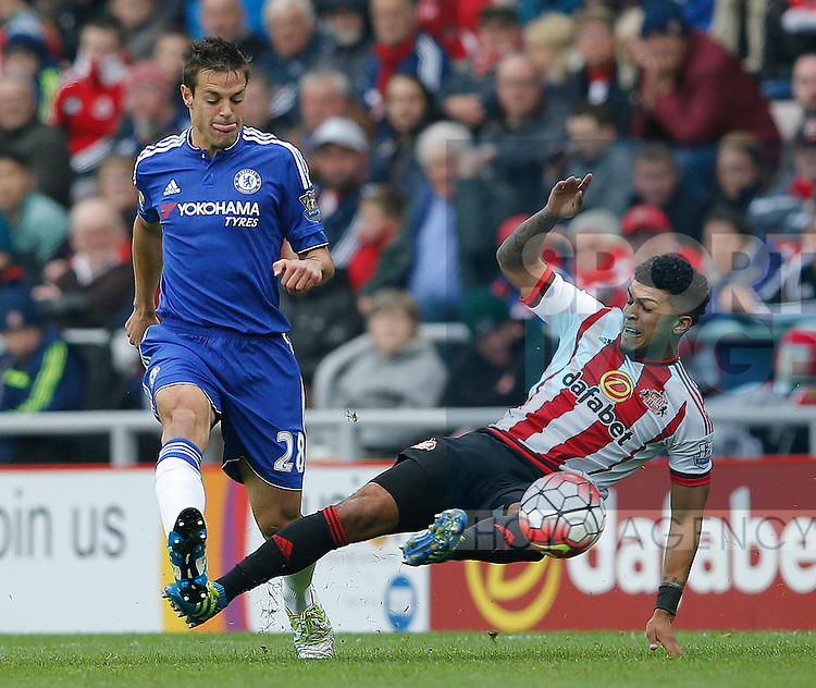 Nemanja Matic of Chelsea tackled by DeAndre Yedlin of Sunderland during the Barclays Premier League match at the Stadium of Light, Sunderland. Photo credit should read: Simon Bellis/Sportimage