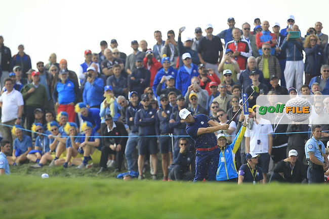 Alex Noren (Team Europe) on the 7th fairway during the Friday Foursomes at the Ryder Cup, Le Golf National, Ile-de-France, France. 28/09/2018.<br /> Picture Thos Caffrey / Golffile.ie<br /> <br /> All photo usage must carry mandatory copyright credit (© Golffile | Thos Caffrey)