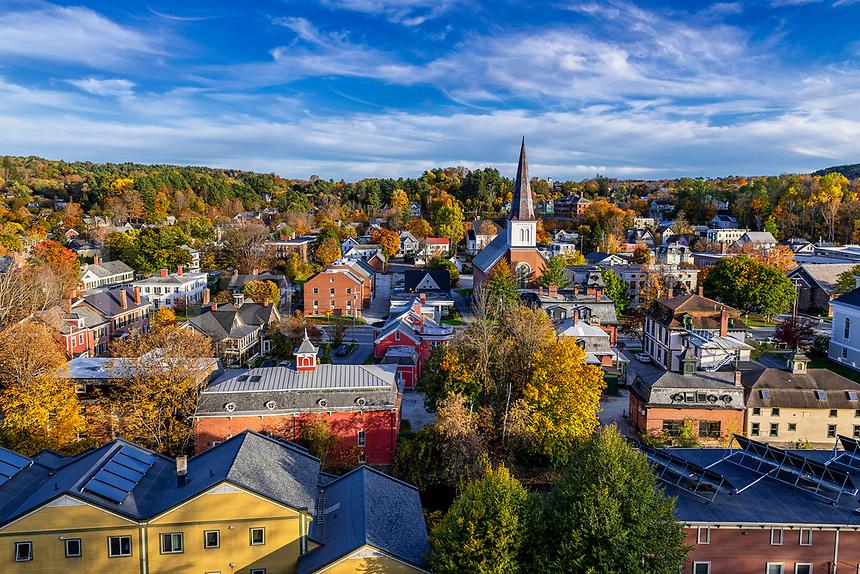Autumn cityscape of downtown Montpellier, Vermont, USA.