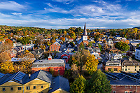 Autumn cityscape of downtown Montpellier, Vermont, USA.