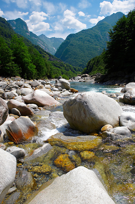 rocky alpine foothills stream in the remote valley of Val Verzasca, near lavertezzo , Ticino