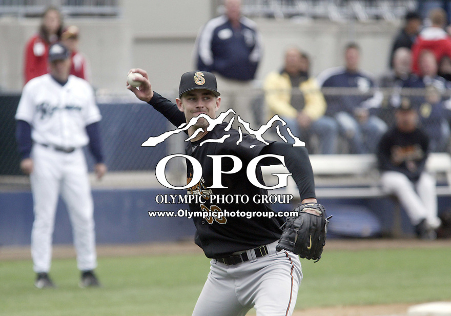 17 June 2007:   Tucson Sidewinders starting pitcher Dustin Nippert fires an attempted bunt to first base for the out against the Tacoma Rainiers  at Cheney Stadium in Tacoma, Washington. Tacoma won 4-1 over Tucson.