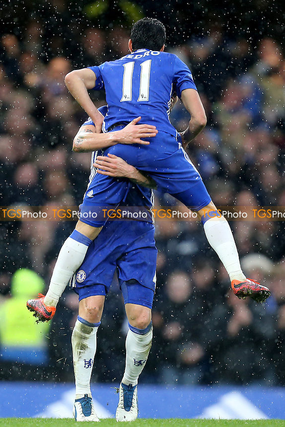Pedro of Chelsea is congratulated after scoring the second goal during Chelsea vs Swansea City, Premier League Football at Stamford Bridge on 25th February 2017