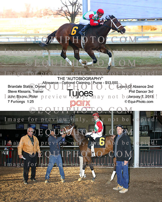 Tujoes with John Bisono riding won the featured 8th race at Parx Racing on 1/7/13.  Photo By Barbara Weidl/Equi-Photo