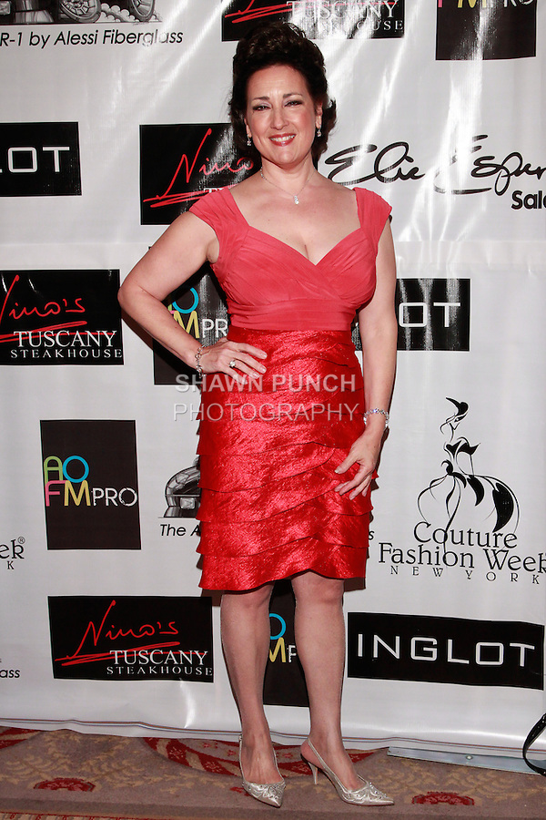 Soprano singer Cristina Fontanelli poses on the red carpet during Couture Fashion Week, in the Waldorf-Astoria Hotel in NYC September 16th 2011.