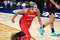 Washington, DC - Sept 17, 2019: Washington Mystics forward Elena Delle Donne (11) is fired up after hitting what would go on to be the game winner during WNBA Playoff semi final game between Las Vegas Aces and Washington Mystics at the Entertainment & Sports Arena in Washington, DC. The Mystics hold on to beat the Aces 97-95. (Photo by Phil Peters/Media Images International)