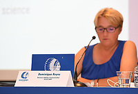 20190819 – GENT, BELGIUM : Gent's director of womensoccer - vrouwenvoetbal - Dominique Reyns pictured during a pre-season press conference presenting the new players  , new staff and new methods for the next season 2019-2020 for the AA Gent Ladies in the Belgian top division – The Superleague -  , Monday 19 th August 2019 at the Ghelamco Stadium in GENT  , Belgium  .  PHOTO SPORTPIX.BE | DAVID CATRY