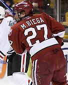 Michael Biega (Harvard - 27) - The Harvard University Crimson defeated the Northeastern University Huskies 3-1 on Monday, February 4, 2008, in the opening game of the 2008 Beanpot at TD Banknorth Garden in Boston, Massachusetts.