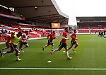 Sheffield Utd players warm up during the Championship match at the City Ground Stadium, Nottingham. Picture date 30th September 2017. Picture credit should read: Simon Bellis/Sportimage