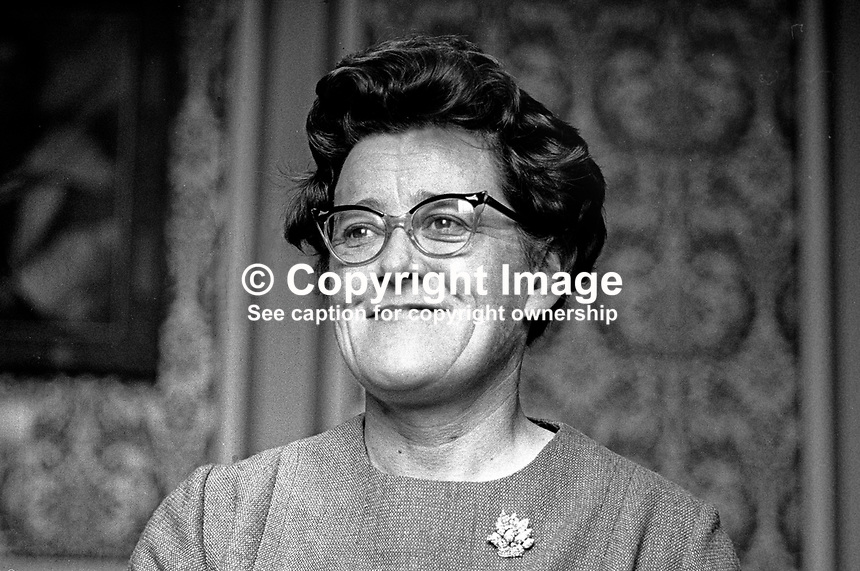 Sheelagh Murnaghan, MP, Ulster Liberal Party, Queen's University constituency, Belfast, N Ireland. She held the seat between 1961 and 1999 being the only Liberal Party member ever to be elected to the Stormont Parliament. 196801000029<br />