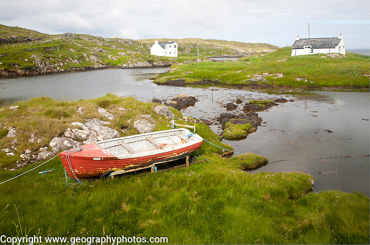 Small fishing boat on the east coast of Barra, Outer Hebrides, Scotland, UK