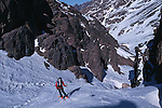 Climbing of the mountain Toubkal (4165 m) with mountaineering skis, highest summit of North Africa. Atlas range. Morocco. Africa