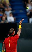 6th January 2020; RAC Arena, Perth, Western Australia; ATP Cup Australia, Perth, Day 4; Spain versus Uruguay; Rafael Nadal of Spain serves during his match against Pablo Cuevas of Uruguay - Editorial Use