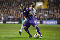 Federico Bernardeschi of Fiorentina & Ryan Mason of Tottenham Hotspur battle for the ball during the UEFA Europa League 2nd leg match between Tottenham Hotspur and Fiorentina at White Hart Lane, London, England on 25 February 2016. Photo by Andy Rowland / Prime Media images.