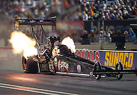 Sep 2, 2016; Clermont, IN, USA; NHRA top fuel driver Tripp Tatum during qualifying for the US Nationals at Lucas Oil Raceway. Mandatory Credit: Mark J. Rebilas-USA TODAY Sports