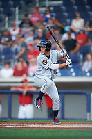 Mahoning Valley Scrappers shortstop Jesse Berardi (52) at bat during a game against the Williamsport Crosscutters on July 8, 2017 at BB&T Ballpark at Historic Bowman Field in Williamsport, Pennsylvania.  Williamsport defeated Mahoning Valley 6-1.  (Mike Janes/Four Seam Images)