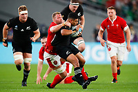 1st November 2019, Tokyo, Japan;   Ross Moriarty (WAL) brings down Richie Mo'unga (NZL); 2019 Rugby World Cup 3rd place match between New Zealand 40-17 Wales at Tokyo Stadium in Tokyo, Japan.  - Editorial Use