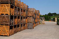 Crates for storing bottles standing empty outside  Chateau de Haux Premieres Cotes de Bordeaux  Entre-deux-Mers  Bordeaux Gironde Aquitaine France