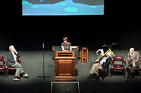 Occidental College hosts New York City Transportation Commissioner Janette Sadik-Khan '82 as she speaks at Keck Theater on Thursday, March 18, 2010 as part of the annual Antoinette and Vincent M. Dungan Lecture on Energy and the Environment. Oxy President Jonathan Veitch, Trustee Cathy Pepe '64, Prof. Roger Boesche and Prof. Bob Gottlieb were also there to speak and present Sadik-Khan with an honorary degree. (Photo by Marc Campos, Occidental College Photographer)