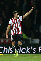 Neal Maupay celebrates scoring Brentford's opening goal during Brentford vs Oxford United, Emirates FA Cup Football at Griffin Park on 5th January 2019