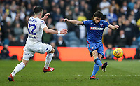 Bolton Wanderers' Jason Lowe shoots under pressure from Leeds United's Jack Harrison <br /> <br /> Photographer Andrew Kearns/CameraSport<br /> <br /> The EFL Sky Bet Championship - Leeds United v Bolton Wanderers - Saturday 23rd February 2019 - Elland Road - Leeds<br /> <br /> World Copyright © 2019 CameraSport. All rights reserved. 43 Linden Ave. Countesthorpe. Leicester. England. LE8 5PG - Tel: +44 (0) 116 277 4147 - admin@camerasport.com - www.camerasport.com