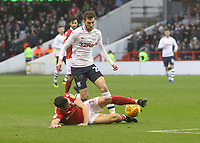 Preston North End's Tom Barkuizen battles with  Nottingham Forest's Jack Robinson<br /> <br /> Photographer Mick Walker/CameraSport<br /> <br /> The EFL Sky Bet Championship - Nottingham Forest v Preston North End - Saturday 8th December 2018 - The City Ground - Nottingham<br /> <br /> World Copyright © 2018 CameraSport. All rights reserved. 43 Linden Ave. Countesthorpe. Leicester. England. LE8 5PG - Tel: +44 (0) 116 277 4147 - admin@camerasport.com - www.camerasport.com