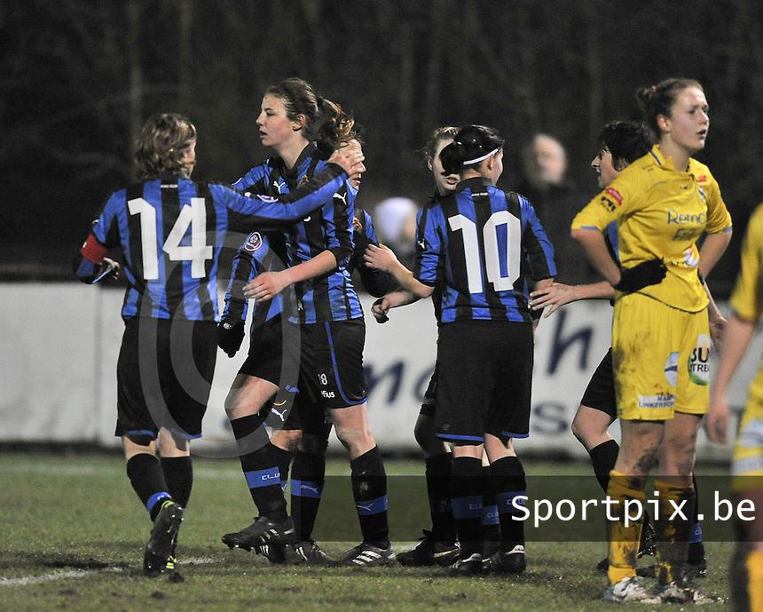 Club Brugge Dames - WB Sinaai Girls : vreugde bij Nicky Van Den Abbeele na de 2-0 van Brugge .foto DAVID CATRY / Vrouwenteam.be