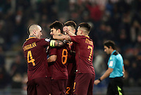 Calcio, Serie A: Roma vs ChievoVerona. Roma, stadio Olimpico, 22 settembre 2016.<br /> Roma&rsquo;s Diego Perotti, second from left, celebrates with teammates Radja Nainggolan, left, Stephan El Shaarawy, second from right, and Juan Iturbe, after scoring on a penalty kick during the Italian Serie A football match between Roma and Chievo Verona, at Rome's Olympic stadium, 22 December 2016.<br /> UPDATE IMAGES PRESS/Isabella Bonotto