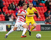 Fleetwood Town's Paddy Madden chases down Doncaster Rovers' Herbie Kane<br /> <br /> Photographer David Shipman/CameraSport<br /> <br /> The EFL Sky Bet League One - Doncaster Rovers v Fleetwood Town - Saturday 6th October 2018 - Keepmoat Stadium - Doncaster<br /> <br /> World Copyright © 2018 CameraSport. All rights reserved. 43 Linden Ave. Countesthorpe. Leicester. England. LE8 5PG - Tel: +44 (0) 116 277 4147 - admin@camerasport.com - www.camerasport.com